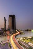 SAIGON WIETNAM, CZERWIEC, - 26, 2015: Pejzaż miejski Ho Chi Minh Ciy i Khanh Hoi most Obraz Royalty Free