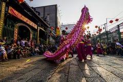 SAIGON WIETNAM, Luty, - 18, 2015: Smoka i lwa taniec pokazuje w chińskim nowego roku festiwalu Obraz Royalty Free