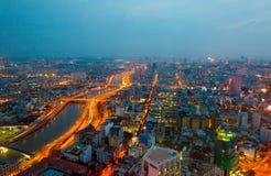 Saigonpanorama van de stad bij nacht Royalty-vrije Stock Afbeelding