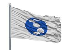 Saikai-Stadt-Flagge auf Fahnenmast, Japan, Präfektur Nagasaki, lokalisiert auf weißem Hintergrund Lizenzfreie Abbildung