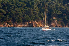 Sail. Is passing a beautiful green island in Turkey Istanbul Stock Images