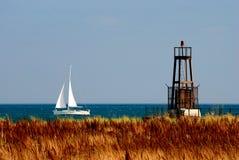Sail. A sail boat on lake michigan, outside Chicago Royalty Free Stock Image