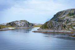 Sail along the fjords towards Bodo, Norway III. This the still land and seascape as sailing along the fjords towards Bodo, Norway. It had rained and been fairly royalty free stock image