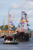 Sail Amsterdam 2010 - The Sail-in Parade. SAIL AMSTERDAM 2010 -IJMUIDEN, THE NETHERLANDS - AUGUST 2010: Sail 2010 starts with the spectaculair Sail-in Parade Royalty Free Stock Photography