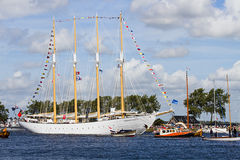 Sail Amsterdam 2010 - The Sail-in Parade. SAIL AMSTERDAM 2010 -IJMUIDEN, THE NETHERLANDS - AUGUST 2010: Sail 2010 starts with the spectaculair Sail-in Parade Royalty Free Stock Images