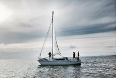 Sail away. Sailing boat yacht on ocean waters Stock Photos