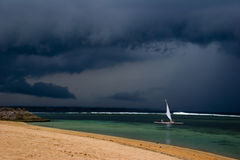 Sail in the bad weather Stock Photos