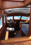 Sail baot interior. Luxury boat crossing the biscayne bay in Istanbul Royalty Free Stock Photos