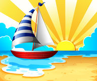 Sail and beach vector illustration