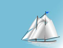 Sail Boat. White sails drifting across blue sky meeting blue water Stock Photos