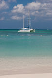 Sail Boat. Waiting for its owners in Palm Beach Aruba on a normal sunny day of September stock photo