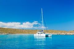 Sail Boat. Sailboat in Beautiful Blue Ocean Stock Photo