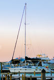 Sail boat. A shot of a sail boat, with its mast up but sail down. It is docked in the marina royalty free stock photo