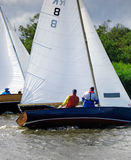 Sail Boat. S on the Norfolk Broads stock photos
