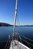 Sail boat. Motoring back to the harbor Royalty Free Stock Image
