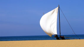 Sail boat. Sails on a small ship, Sri Lanka Royalty Free Stock Images