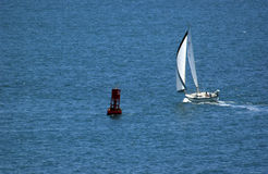 Sail boat. On the ocean Stock Photography