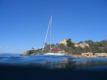 Sail boat. On the french riviera in port cros Stock Photos