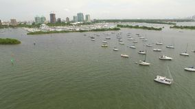 Sail boat aerial video flyover stock video footage