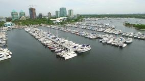 Sail boat aerial video flyover stock footage