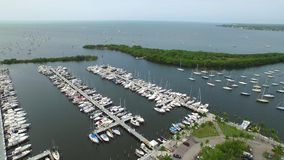 Sail boat aerial video flyover stock video