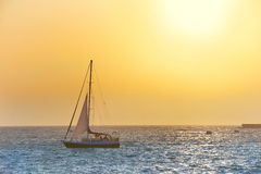 Sail boat against sea sunset Stock Image