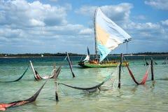 Free Sail Boat And Hammocks In Jericoacoara, Brazi Stock Photos - 74624973