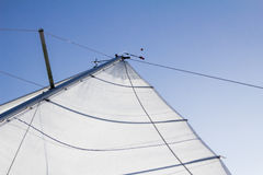 The sail of a boat from behind, sunny day Royalty Free Stock Images