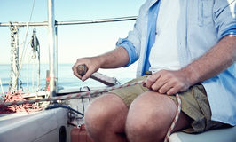 Sail boat captain Stock Photo
