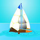 Sail boat. Colored sail boat with ocean  background Royalty Free Stock Photography