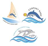 Sail boat and Fish logo / Icon. Sail boat and Fish image set can be use as a company logo or icon Stock Photos