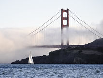 Sail Boat and the Golden Gate Bridge Stock Photo