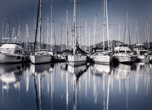 Sail boat harbor in evening Stock Photo