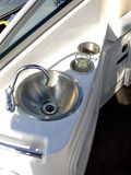 Sail boat item. The sink and tap aboard yacht Royalty Free Stock Photo