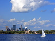 Sail boat on lake Calhoun in Minneapolis Royalty Free Stock Photo