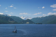 Sail boat in lake Maggiore Stock Photo