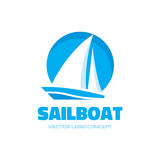 Sail boat -  logo template concept illustration. Ship sign. Design element Royalty Free Stock Photo