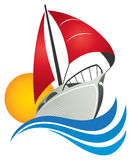 Sail Boat Logo. A sail boat with water and sun logo stock illustration