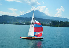 Sail boat in Lucerne lake switzerland Royalty Free Stock Photography