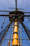 Sail boat mast. Closeup over blue sky Stock Photo