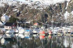 Sail boat mirroring  in Svolvaer Royalty Free Stock Image