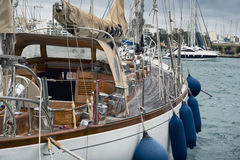Sail boat moored at the marina in Sliema royalty free stock photo