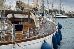 Sail boat moored at the marina in Sliema Royalty Free Stock Photo
