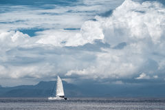 Sail boat moves in the sea Royalty Free Stock Photo