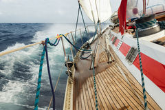 Sail boat. Navigating on the waves Stock Images