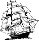 Sail Boat in ocean Vector Clipart Stock Image