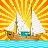 The Sail Boat over Sun Rays. Color Vector Illustration. Sailing Poster Background with Sailboat, Sea and Sunset vector illustration