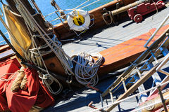 Sail boat paraphernalia such as ropes royalty free stock photo