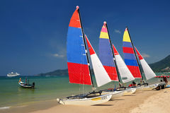 Sail boat on patong beach, phuket, thailand Stock Image