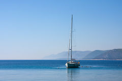 Sail boat and people, Adriatic sea Royalty Free Stock Photos